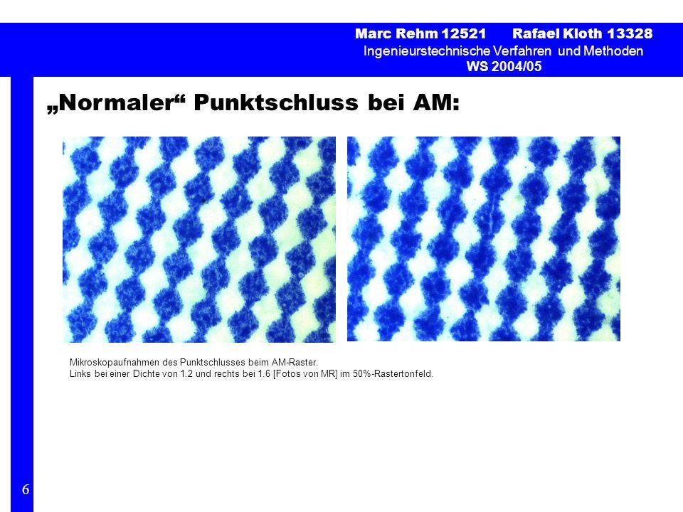 Normaler Punktschluss bei AM: Marc Rehm 12521 Rafael Kloth 13328 Ingenieurstechnische Verfahren und Methoden WS 2004/05 6 Mikroskopaufnahmen des Punkt