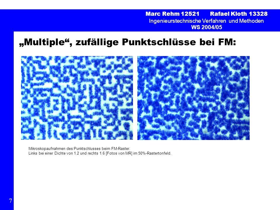Multiple, zufällige Punktschlüsse bei FM: Marc Rehm 12521 Rafael Kloth 13328 Ingenieurstechnische Verfahren und Methoden WS 2004/05 7 Mikroskopaufnahmen des Punktschlusses beim FM-Raster.
