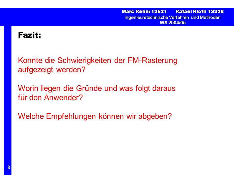 Marc Rehm 12521 Rafael Kloth 13328 Ingenieurstechnische Verfahren und Methoden WS 2004/05 Fazit: Konnte die Schwierigkeiten der FM-Rasterung aufgezeigt werden.