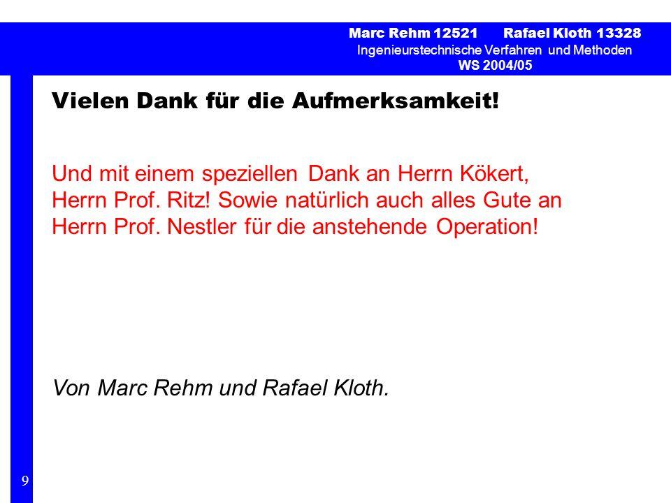 Marc Rehm 12521 Rafael Kloth 13328 Ingenieurstechnische Verfahren und Methoden WS 2004/05 Vielen Dank für die Aufmerksamkeit! Und mit einem speziellen