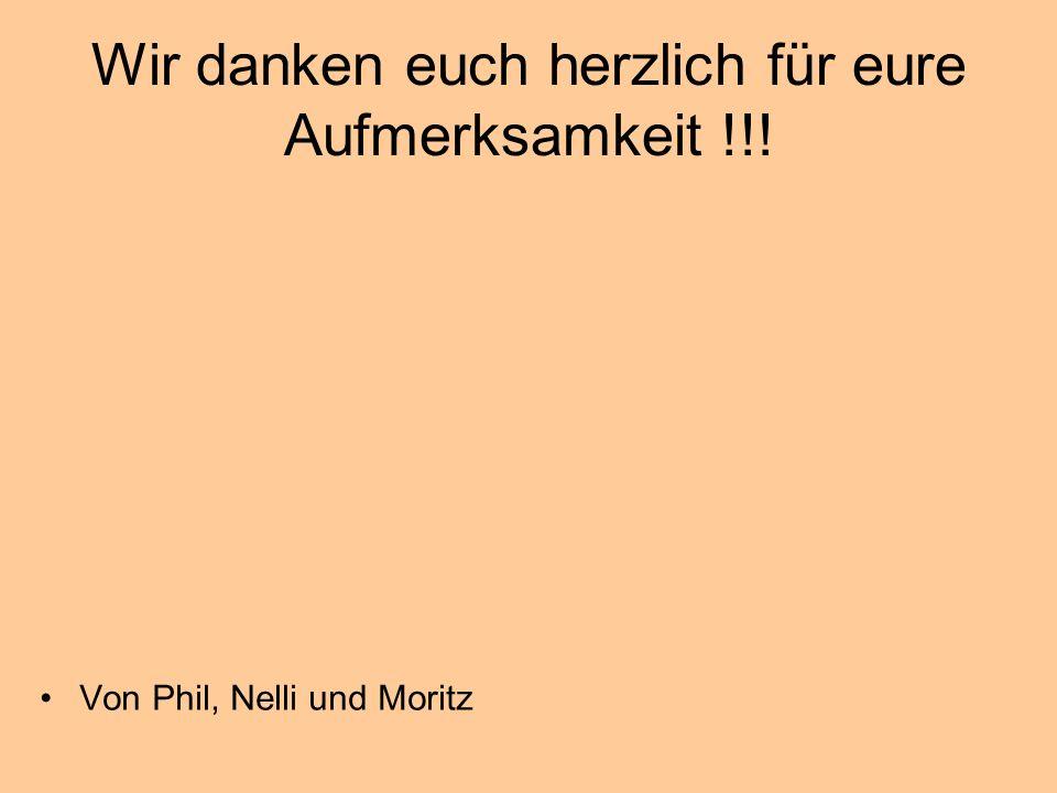 Wir danken euch herzlich für eure Aufmerksamkeit !!! Von Phil, Nelli und Moritz
