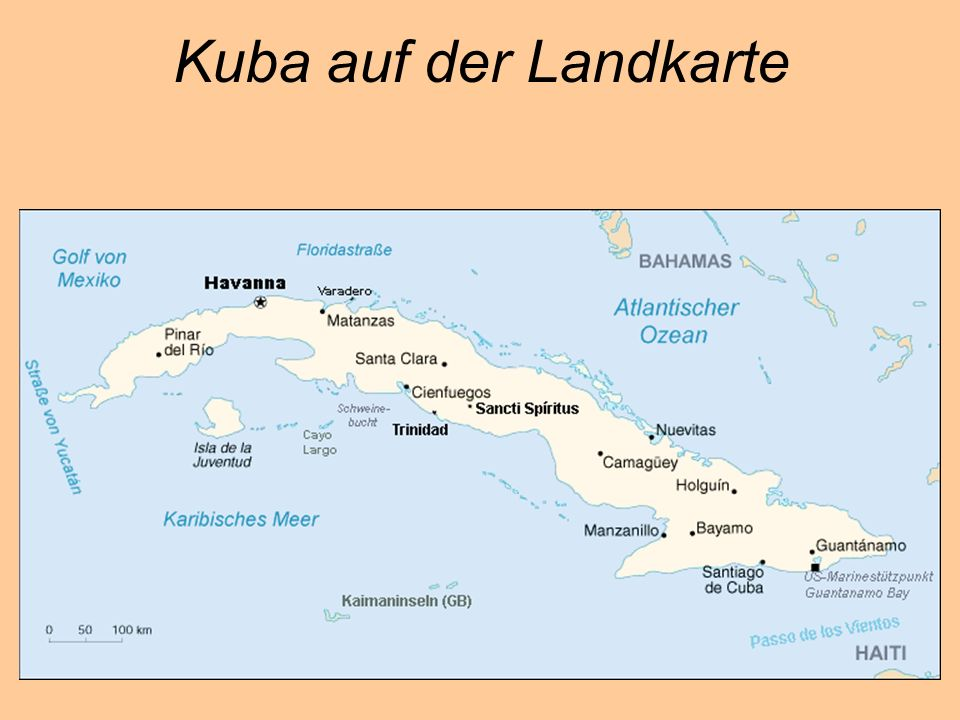 Kuba auf der Landkarte
