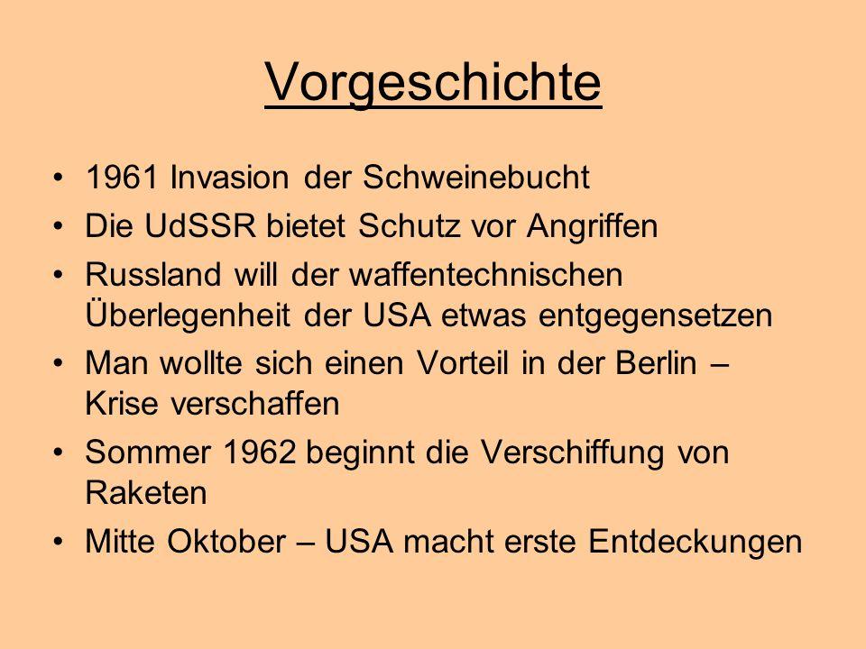 Vorgeschichte 1961 Invasion der Schweinebucht Die UdSSR bietet Schutz vor Angriffen Russland will der waffentechnischen Überlegenheit der USA etwas en