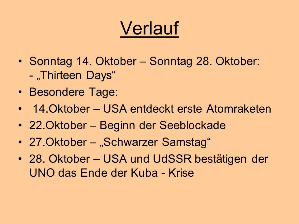 Verlauf Sonntag 14. Oktober – Sonntag 28. Oktober: - Thirteen Days Besondere Tage: 14.Oktober – USA entdeckt erste Atomraketen 22.Oktober – Beginn der