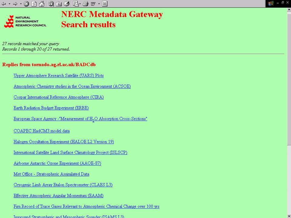 CLRC - Daresbury Laboratory, Kerstin Kleese - van Dam Wichtige Datensaetze ERA15 / ERA40 - ECMWF Met Office Global NWP Datensatz River, Atmosphere and Coasts Study (RACS) 1993-1997 – war Teil der Land – Ocean Interaction Study (LoiS)