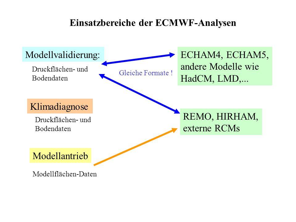 Einsatzbereiche der ECMWF-Analysen Modellvalidierung:ECHAM4, ECHAM5, andere Modelle wie HadCM, LMD,...