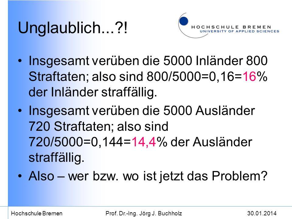 30.01.2014Hochschule BremenProf. Dr.-Ing. Jörg J. Buchholz Unglaublich...?! Insgesamt verüben die 5000 Inländer 800 Straftaten; also sind 800/5000=0,1