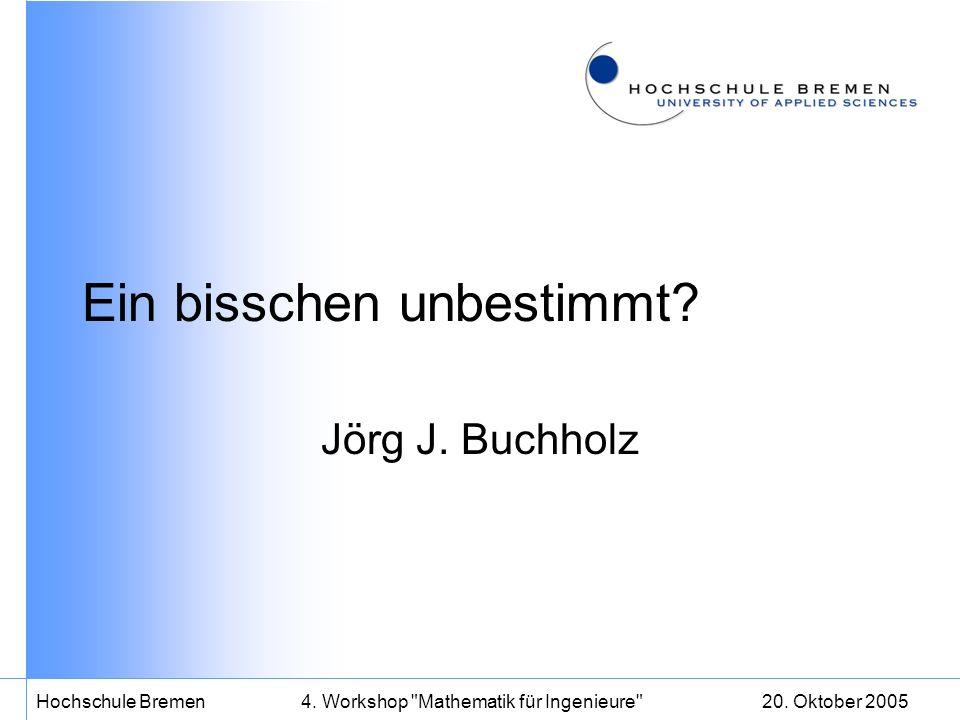 20. Oktober 2005Hochschule Bremen4. Workshop Mathematik für Ingenieure Ein bisschen unbestimmt.