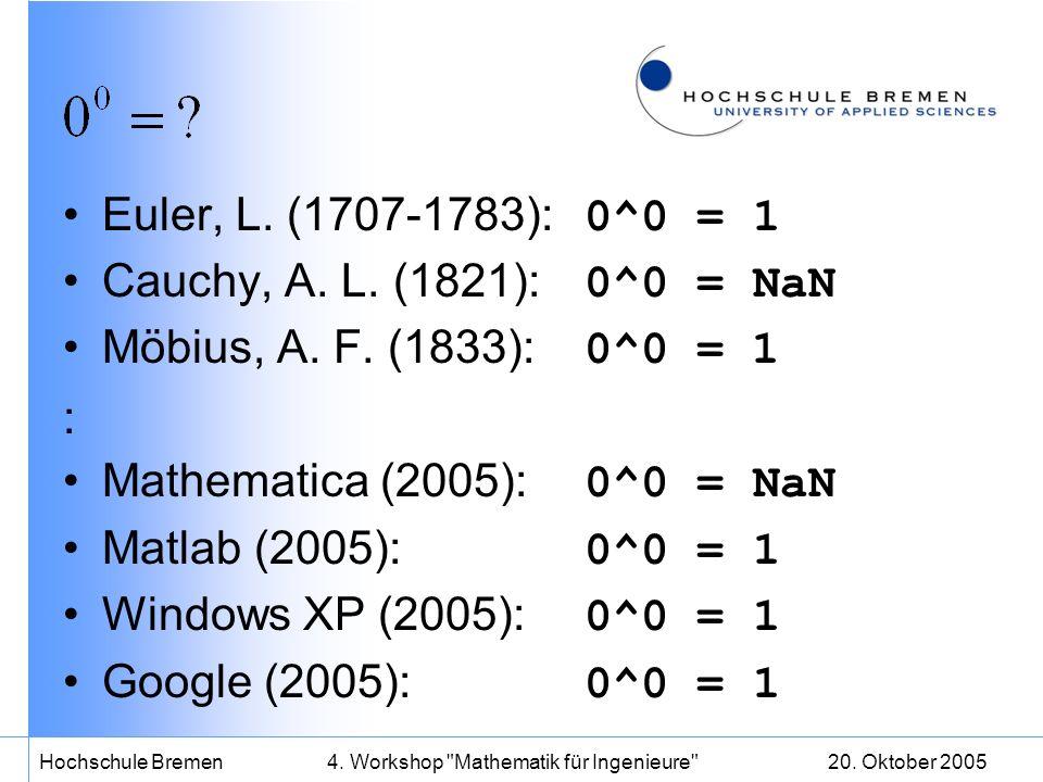 20. Oktober 2005Hochschule Bremen4. Workshop Mathematik für Ingenieure Euler, L.