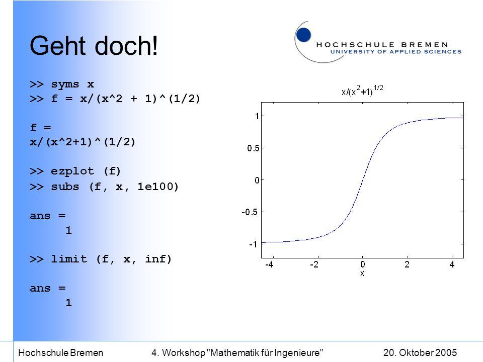20.Oktober 2005Hochschule Bremen4. Workshop Mathematik für Ingenieure Geht immer.