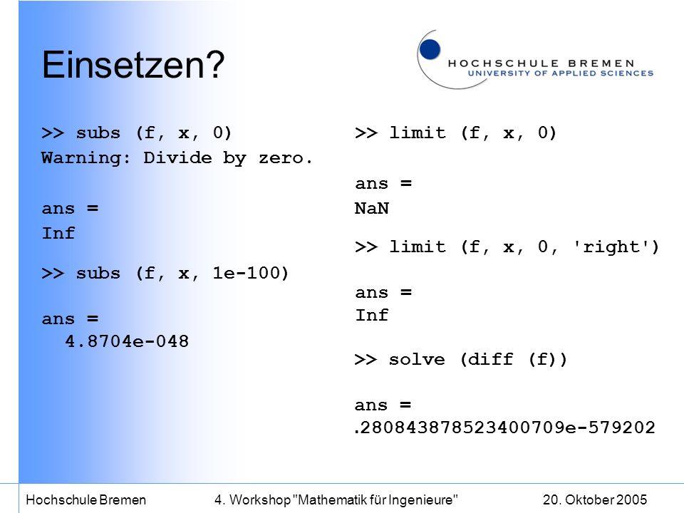 20. Oktober 2005Hochschule Bremen4. Workshop Mathematik für Ingenieure Einsetzen.