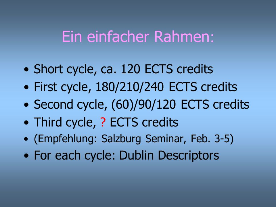 Ein einfacher Rahmen : Short cycle, ca. 120 ECTS credits First cycle, 180/210/240 ECTS credits Second cycle, (60)/90/120 ECTS credits Third cycle, ? E