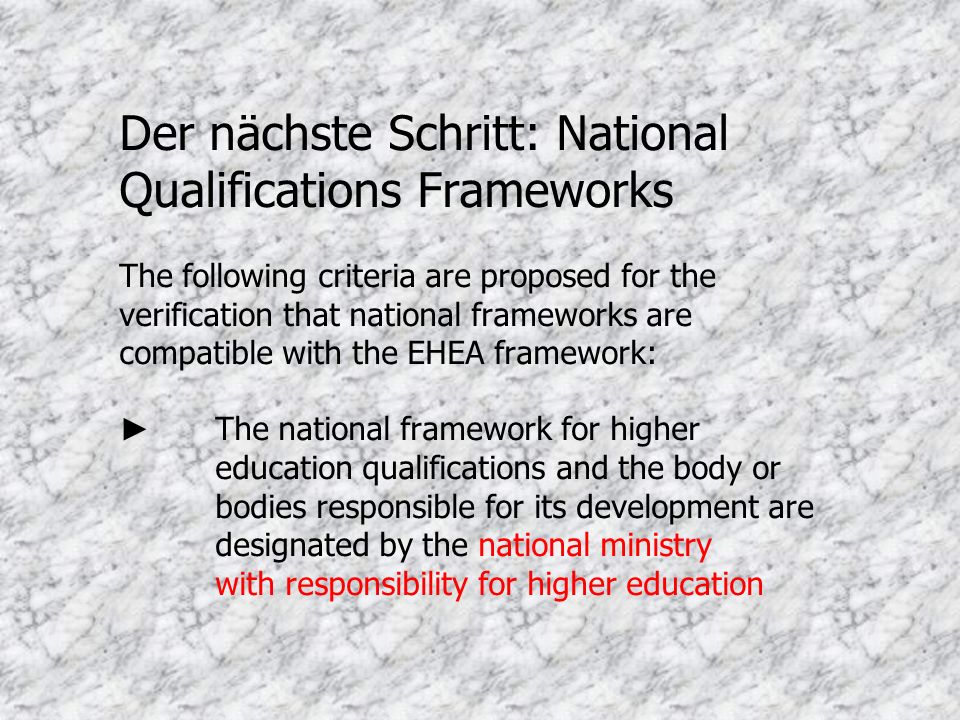 Der nächste Schritt: National Qualifications Frameworks The following criteria are proposed for the verification that national frameworks are compatib