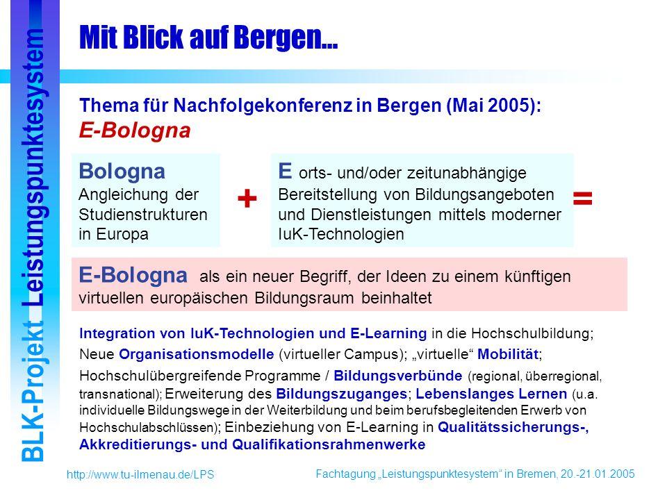 Fachtagung Leistungspunktesystem in Bremen, 20.-21.01.2005 BLK-Projekt Leistungspunktesystem http://www.tu-ilmenau.de/LPS Mit Blick auf Bergen… E-Bologna als ein neuer Begriff, der Ideen zu einem künftigen virtuellen europäischen Bildungsraum beinhaltet Bologna Angleichung der Studienstrukturen in Europa E orts- und/oder zeitunabhängige Bereitstellung von Bildungsangeboten und Dienstleistungen mittels moderner IuK-Technologien += Thema für Nachfolgekonferenz in Bergen (Mai 2005): E-Bologna Integration von IuK-Technologien und E-Learning in die Hochschulbildung; Neue Organisationsmodelle (virtueller Campus); virtuelle Mobilität; Hochschulübergreifende Programme / Bildungsverbünde (regional, überregional, transnational); Erweiterung des Bildungszuganges; Lebenslanges Lernen (u.a.