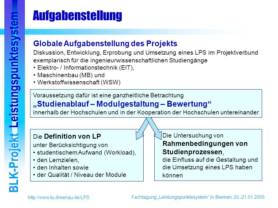 Fachtagung Leistungspunktesystem in Bremen, 20.-21.01.2005 BLK-Projekt Leistungspunktesystem http://www.tu-ilmenau.de/LPS Die Definition von LP unter Berücksichtigung von studentischem Aufwand (Workload), den Lernzielen, den Inhalten sowie der Qualität / Niveau der Module Die Untersuchung von Rahmenbedingungen von Studienprozessen, die Einfluss auf die Gestaltung und die Umsetzung eines LPS haben können Aufgabenstellung Globale Aufgabenstellung des Projekts Diskussion, Entwicklung, Erprobung und Umsetzung eines LPS im Projektverbund exemplarisch für die ingenieurwissenschaftlichen Studiengänge Elektro- / Informationstechnik (EIT), Maschinenbau (MB) und Werkstoffwissenschaft (WSW) Voraussetzung dafür ist eine ganzheitliche Betrachtung Studienablauf – Modulgestaltung – Bewertung innerhalb der Hochschulen und in der Kooperation der Hochschulen untereinander