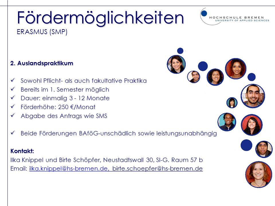 Fördermöglichkeiten ERASMUS (SMP) 2. Auslandspraktikum Sowohl Pflicht- als auch fakultative Praktika Sowohl Pflicht- als auch fakultative Praktika Ber