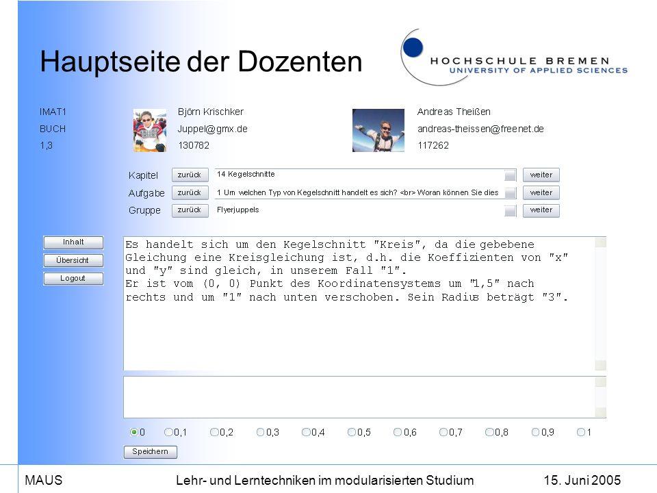 15. Juni 2005MAUS Lehr- und Lerntechniken im modularisierten Studium Hauptseite der Dozenten