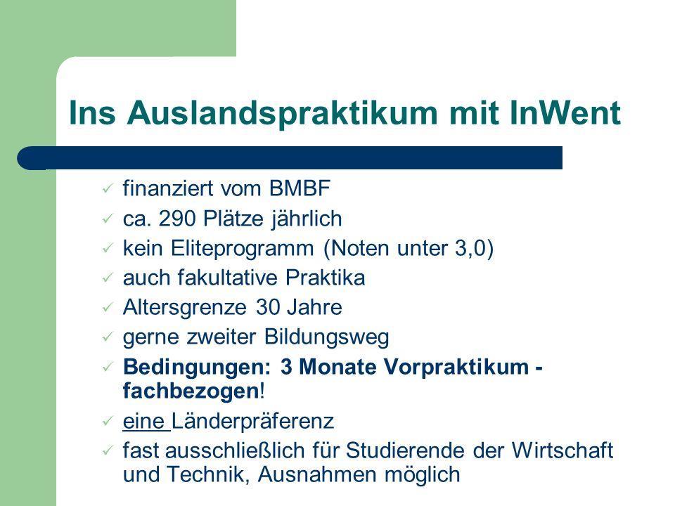 Ins Auslandspraktikum mit InWent finanziert vom BMBF ca.