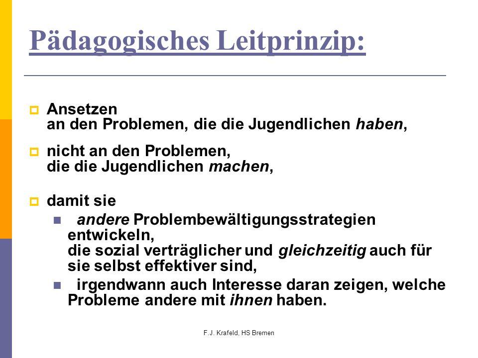 F.J. Krafeld, HS Bremen Pädagogisches Leitprinzip: Ansetzen an den Problemen, die die Jugendlichen haben, nicht an den Problemen, die die Jugendlichen