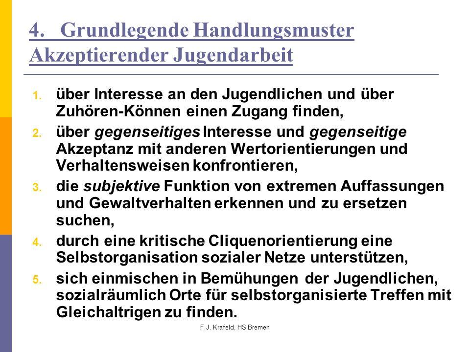 F.J. Krafeld, HS Bremen 4. Grundlegende Handlungsmuster Akzeptierender Jugendarbeit 1. über Interesse an den Jugendlichen und über Zuhören-Können eine