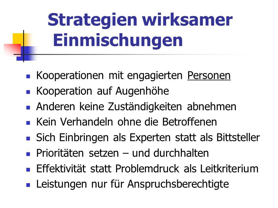 Strategien wirksamer Einmischungen Kooperationen mit engagierten Personen Kooperation auf Augenhöhe Anderen keine Zuständigkeiten abnehmen Kein Verhan