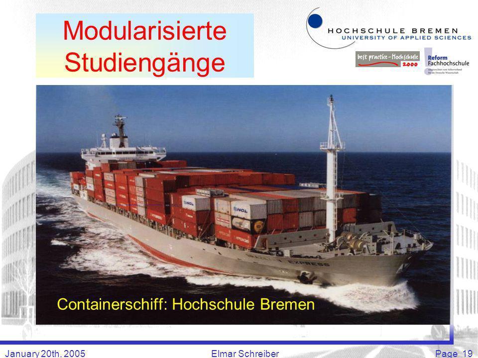 January 20th, 2005Elmar SchreiberPage 19 Containerschiff: Hochschule Bremen Modularisierte Studiengänge