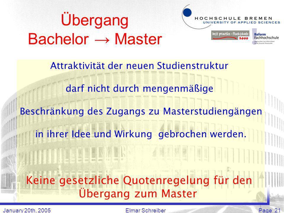 January 20th, 2005Elmar SchreiberPage 21 Übergang Bachelor Master Attraktivität der neuen Studienstruktur darf nicht durch mengenmäßige Beschränkung des Zugangs zu Masterstudiengängen in ihrer Idee und Wirkung gebrochen werden.