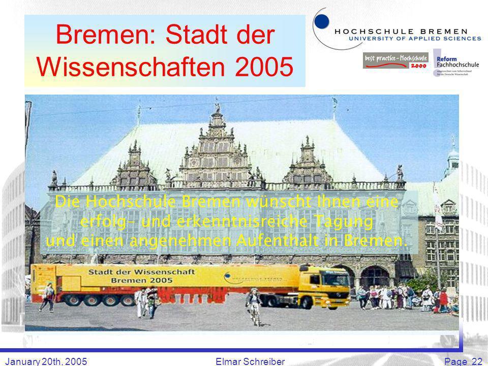 January 20th, 2005Elmar SchreiberPage 22 Bremen: Stadt der Wissenschaften 2005 Die Hochschule Bremen wünscht Ihnen eine erfolg- und erkenntnisreiche Tagung und einen angenehmen Aufenthalt in Bremen.