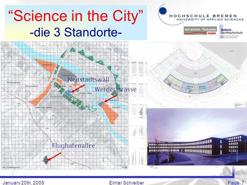 January 20th, 2005Elmar SchreiberPage 7 Science in the City -die 3 Standorte- Flughafenallee Werderstrasse Neustadtswall