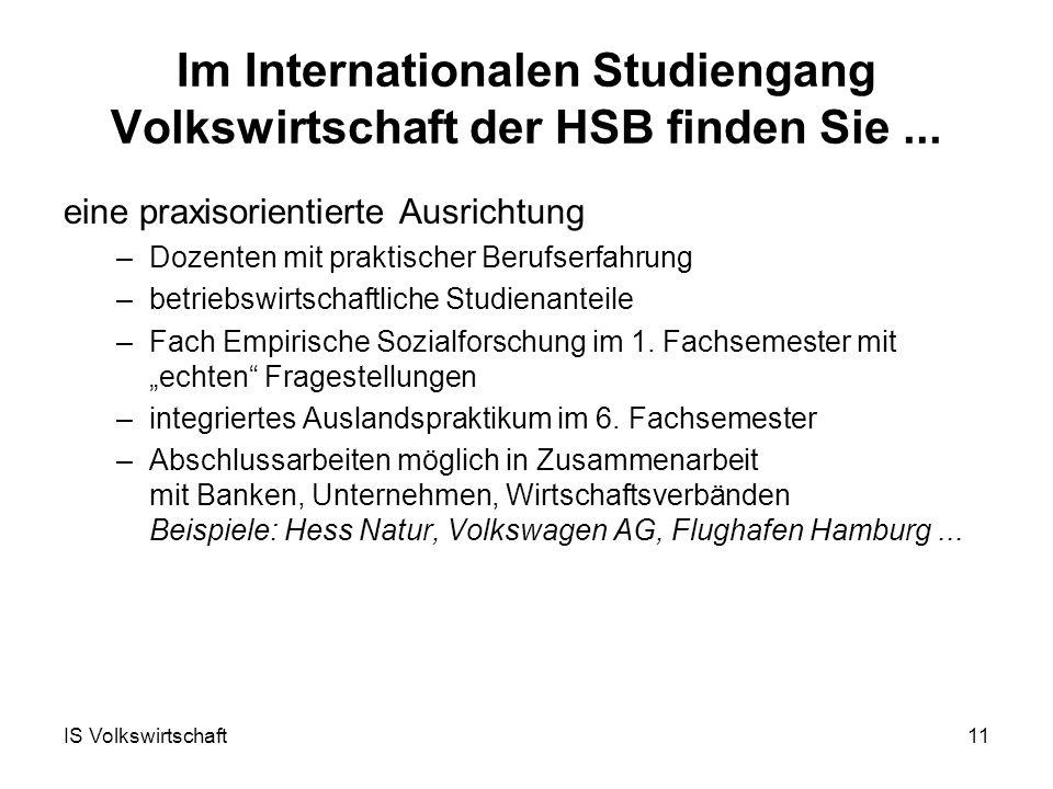 IS Volkswirtschaft11 Im Internationalen Studiengang Volkswirtschaft der HSB finden Sie...