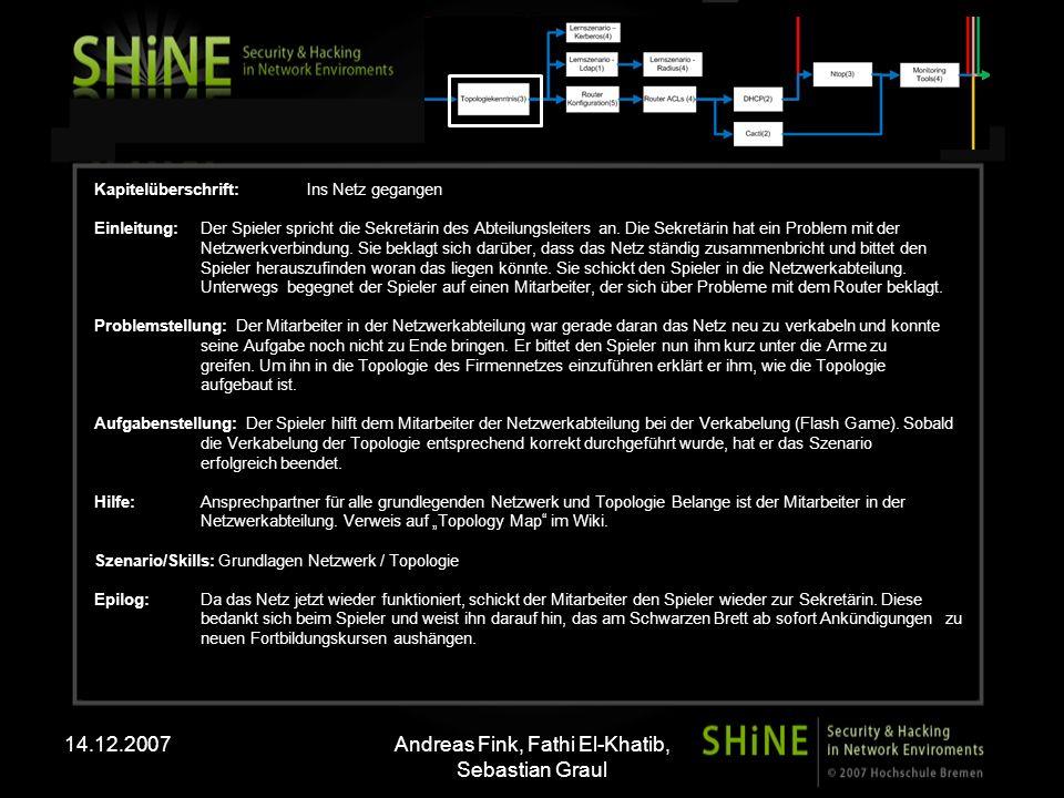 14.12.2007Andreas Fink, Fathi El-Khatib, Sebastian Graul Kapitelüberschrift:Ins Netz gegangen Einleitung: Der Spieler spricht die Sekretärin des Abteilungsleiters an.