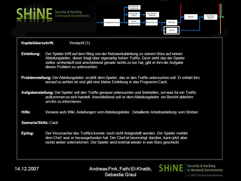 14.12.2007Andreas Fink, Fathi El-Khatib, Sebastia Graul Kapitelüberschrift:Verdacht (2) Einleitung: Ein Arbeitskollege betritt das Büro des Spielers.
