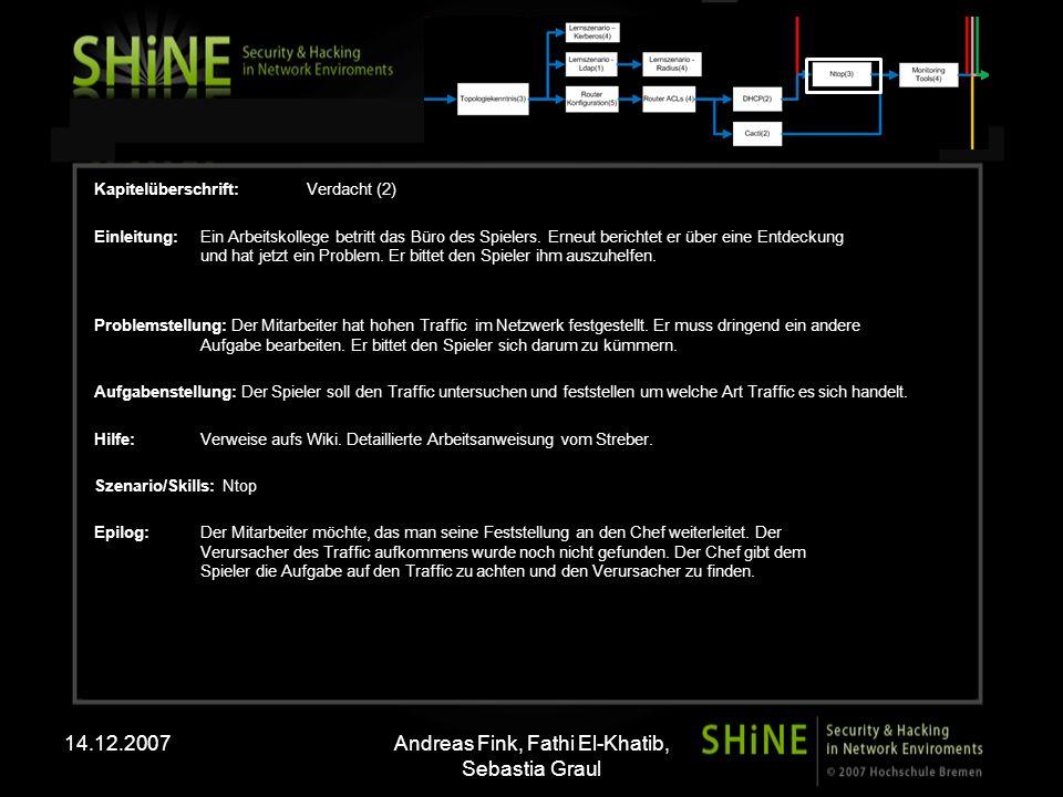 14.12.2007Andreas Fink, Fathi El-Khatib, Sebastia Graul Kapitelüberschrift:Verdacht(3) Einleitung: Der Abteilungsleiter hatte dem Spieler zuvor die Aufgabe gegeben auf den Traffic zu achten.