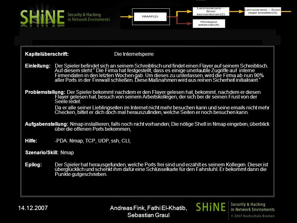 14.12.2007Andreas Fink, Fathi El-Khatib, Sebastian Graul Kapitelüberschrift: Die Internetsperre Einleitung: Der Spieler befindet sich an seinem Schreibtisch und findet einen Flayer auf seinem Schreibtisch.