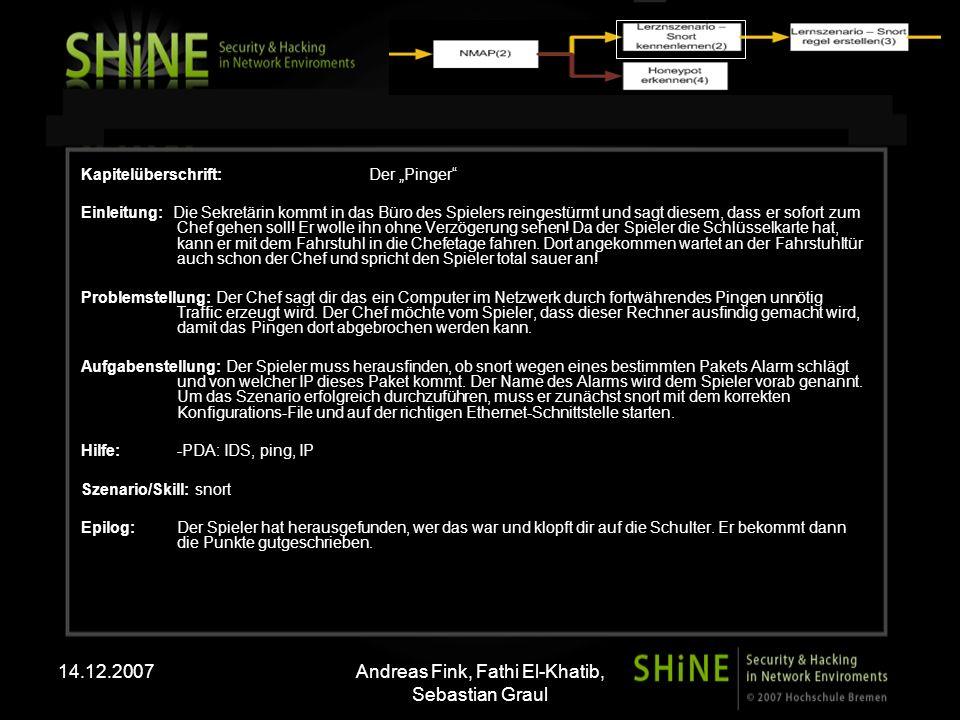 14.12.2007Andreas Fink, Fathi El-Khatib, Sebastian Graul Kapitelüberschrift: Der Spion Einleitung: Der Spieler bekommt einen Anruf von dem Netzwerkadministrator der Firma.