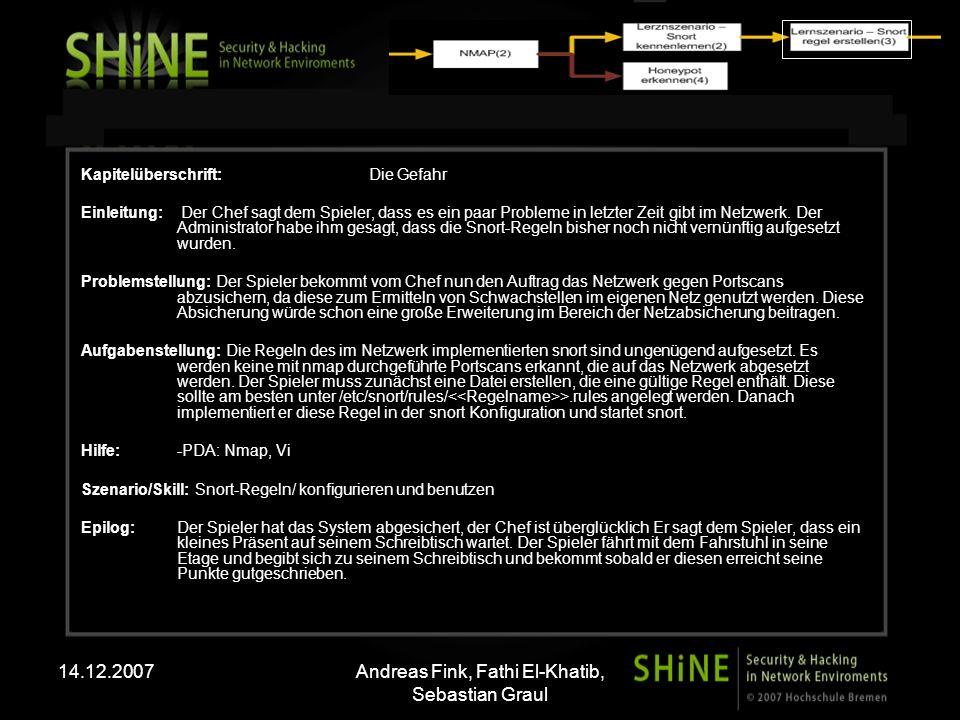 14.12.2007Andreas Fink, Fathi El-Khatib, Sebastian Graul Kapitelüberschrift: Die Gefahr Einleitung: Der Chef sagt dem Spieler, dass es ein paar Probleme in letzter Zeit gibt im Netzwerk.