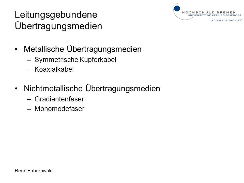 René Fahrenwald Leitungsgebundene Übertragungsmedien Metallische Übertragungsmedien –Symmetrische Kupferkabel –Koaxialkabel Nichtmetallische Übertragu