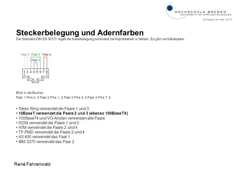René Fahrenwald Steckerbelegung und Adernfarben Der Standard DIN EN 50173 regelt die Kabelbelegung zumindest bei Kupferkabeln in Netzen. Es gibt vier