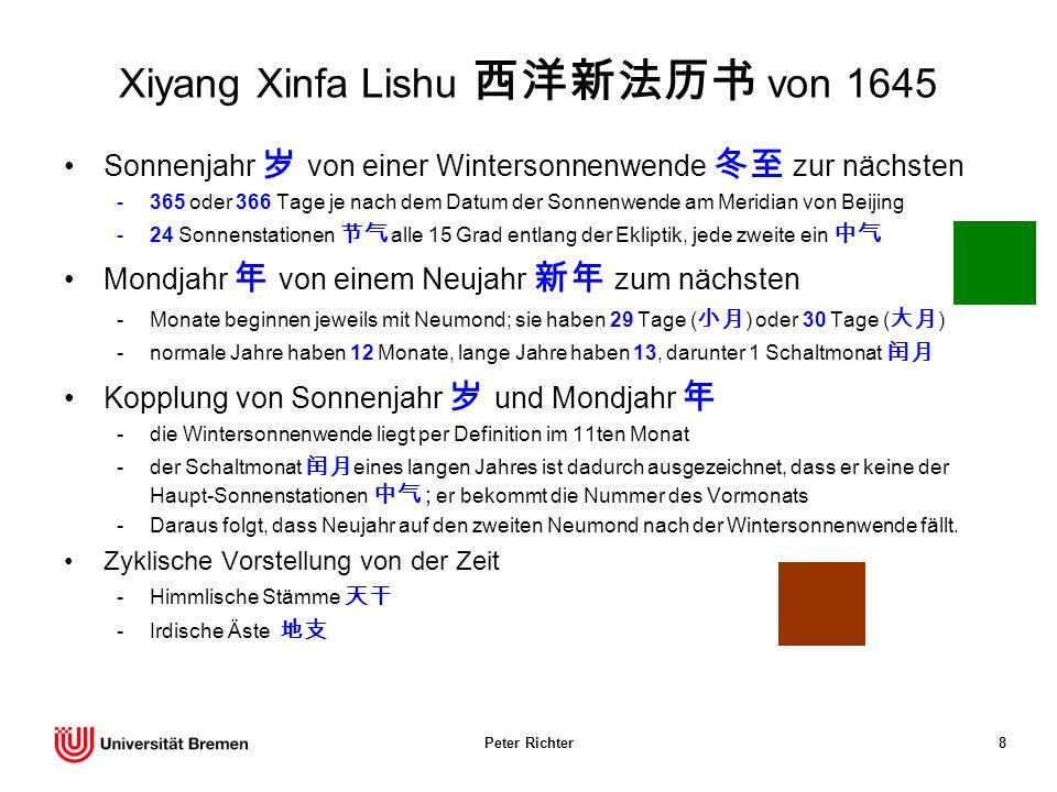 Peter Richter8 Xiyang Xinfa Lishu von 1645 Sonnenjahr von einer Wintersonnenwende zur nächsten -365 oder 366 Tage je nach dem Datum der Sonnenwende am