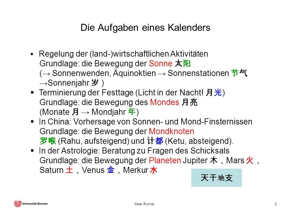 Peter Richter2 Die Aufgaben eines Kalenders Regelung der (land-)wirtschaftlichen Aktivitäten Grundlage: die Bewegung der Sonne ( Sonnenwenden, Äquinok