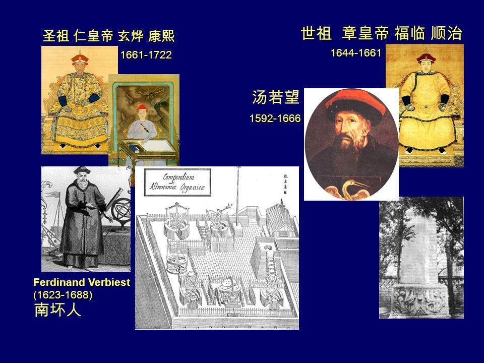 1661-1722 1644-1661 1592-1666 Ferdinand Verbiest (1623-1688)