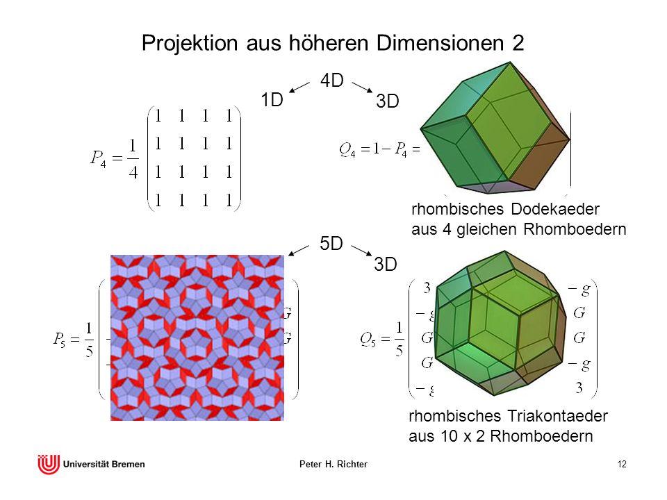 Peter H. Richter12 Projektion aus höheren Dimensionen 2 4D 3D 1D 5D 3D 2D rhombisches Dodekaeder aus 4 gleichen Rhomboedern rhombisches Triakontaeder