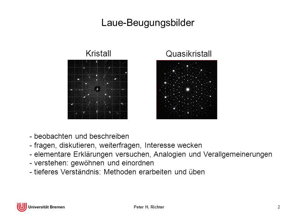 Peter H. Richter2 Laue-Beugungsbilder Kristall - beobachten und beschreiben - fragen, diskutieren, weiterfragen, Interesse wecken - elementare Erkläru