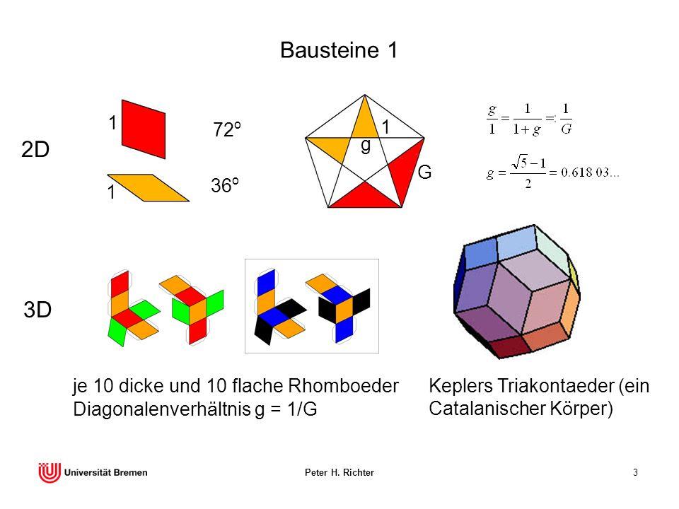 Peter H. Richter3 Bausteine 1 72 o 36 o 1 1 2D je 10 dicke und 10 flache Rhomboeder Diagonalenverhältnis g = 1/G 3D Keplers Triakontaeder (ein Catalan