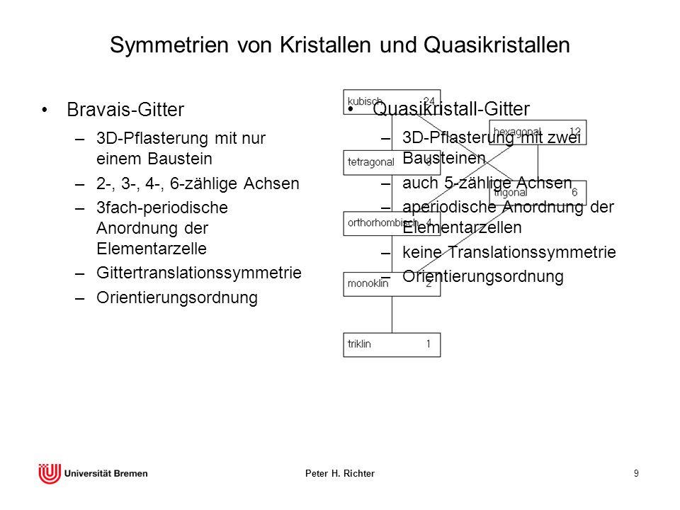 Peter H. Richter9 Symmetrien von Kristallen und Quasikristallen Bravais-Gitter –3D-Pflasterung mit nur einem Baustein –2-, 3-, 4-, 6-zählige Achsen –3