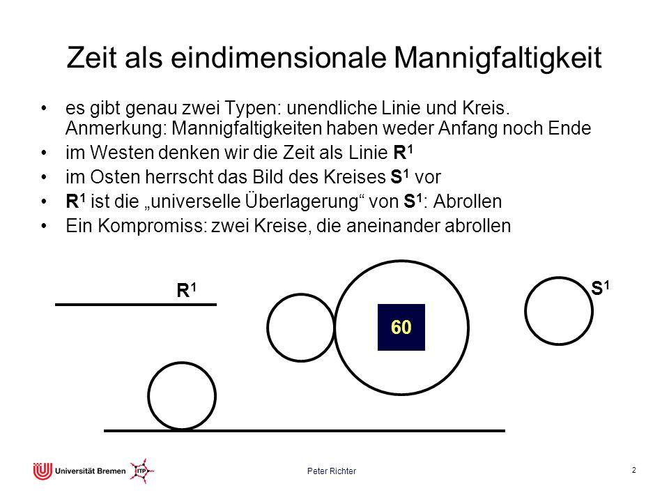 2 Zeit als eindimensionale Mannigfaltigkeit es gibt genau zwei Typen: unendliche Linie und Kreis. Anmerkung: Mannigfaltigkeiten haben weder Anfang noc