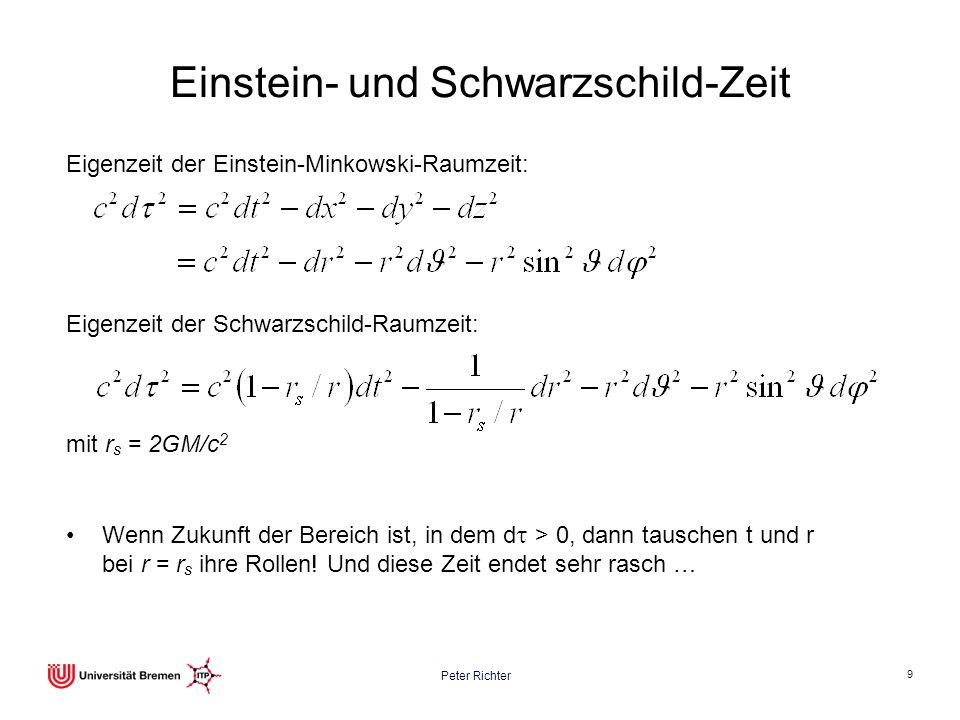 Peter Richter 9 Einstein- und Schwarzschild-Zeit Wenn Zukunft der Bereich ist, in dem d > 0, dann tauschen t und r bei r = r s ihre Rollen! Und diese