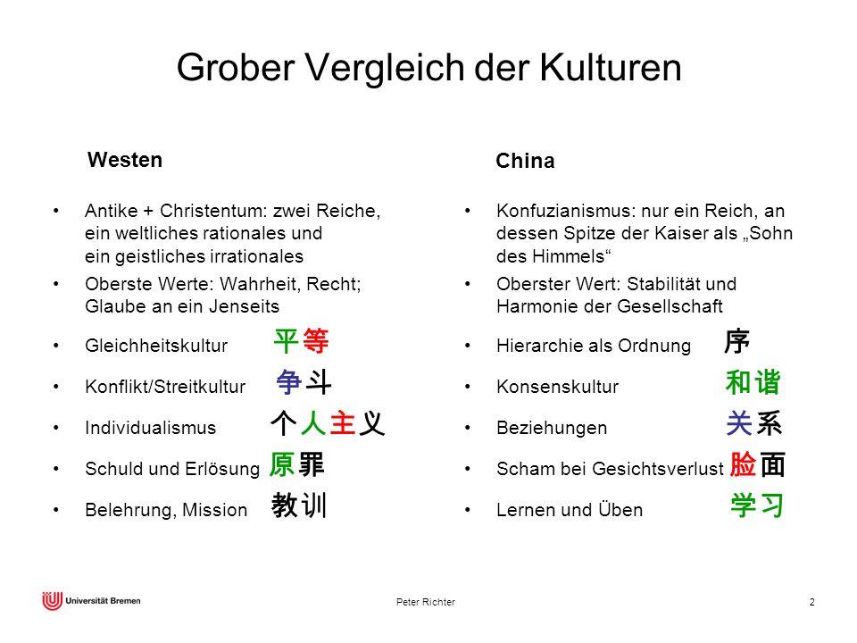 Peter Richter2 Grober Vergleich der Kulturen Antike + Christentum: zwei Reiche, ein weltliches rationales und ein geistliches irrationales Oberste Wer