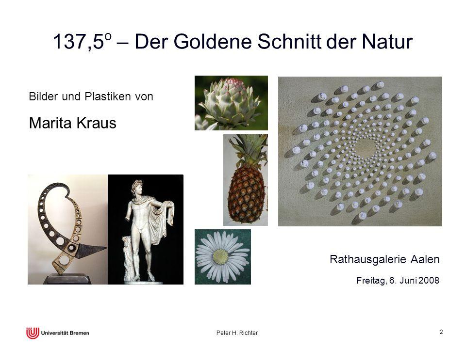 Peter H. Richter 2 137,5 o – Der Goldene Schnitt der Natur Bilder und Plastiken von Marita Kraus Freitag, 6. Juni 2008 Rathausgalerie Aalen