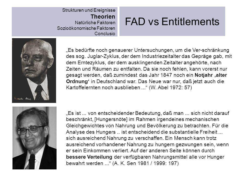 Strukturen und Ereignisse Theorien Natürliche Faktoren Sozioökonomische Faktoren Conclusio FAD vs Entitlements Es bedürfte noch genauerer Untersuchung